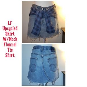 LF Upcycled Denim Skirt W/Mock Shirt Tied At Waist